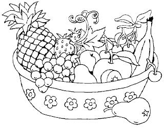 Resultado de imagem para cesta de frutas para colorir