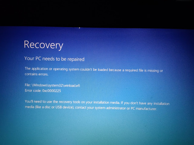 cara mengatasi your pc needs to be repaired Error code: 0xc0000225