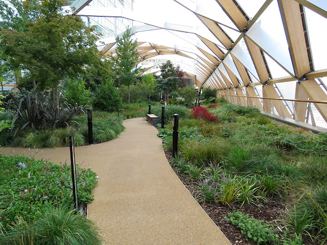 Roof gardens by Foster + Partners, Crossrail station, Canary Wharf, London