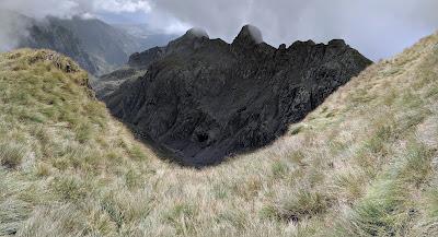 View south toward dark forms of Torrione S Giacomo.