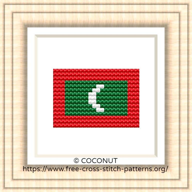 NATIONAL FLAG OF MALDIVES CROSS STITCH CHART