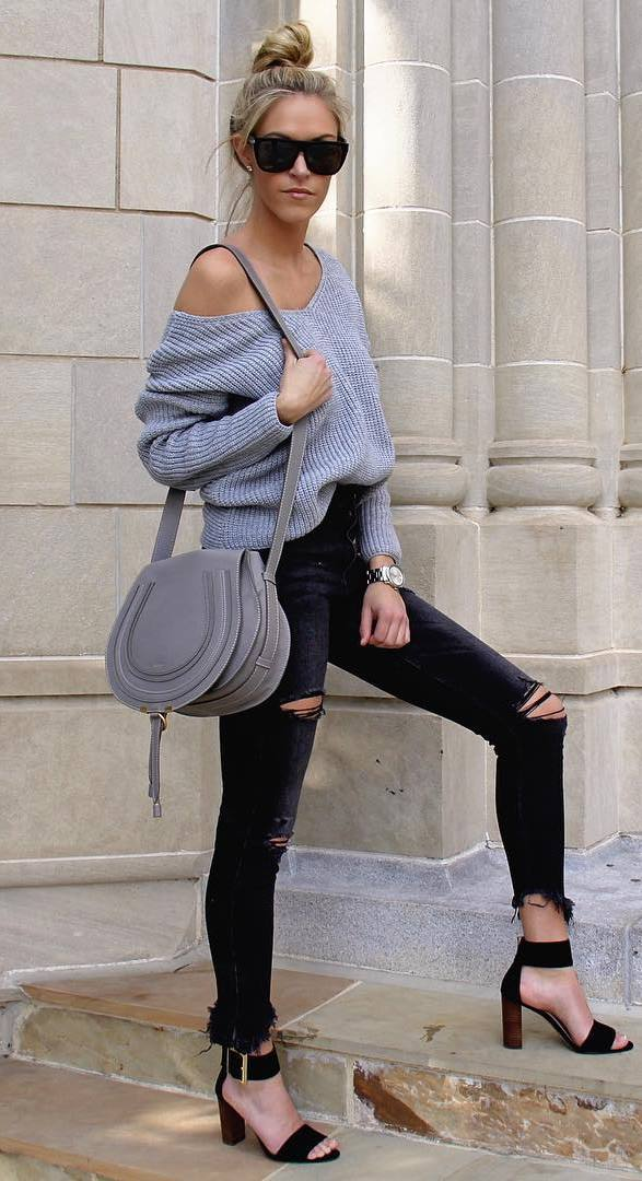 casual style perfection: knit + bag + rips + heels