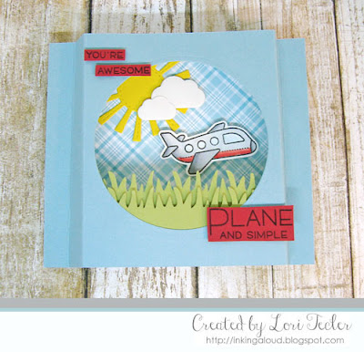 Plane and Simple shadow box card-designed by Lori Tecler/Inking Aloud-stamps and dies from Lawn Fawn