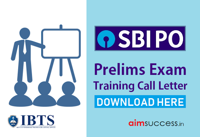 SBI PO Pre-Examination Training Call Letter