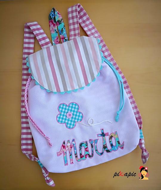 Mochila infantil personalizada Marta. Pikapic