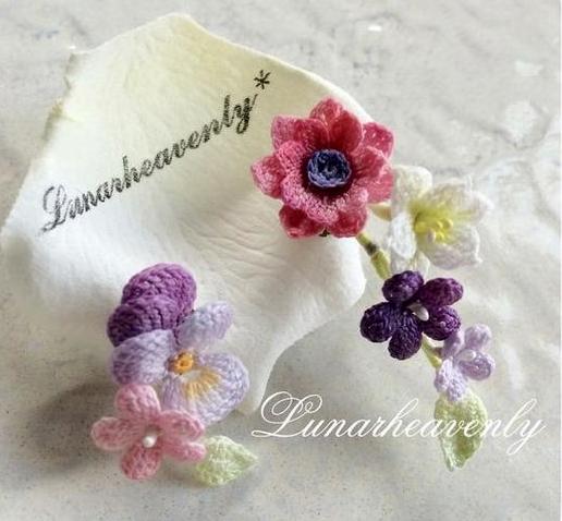 mini kwiatki szydelkiem