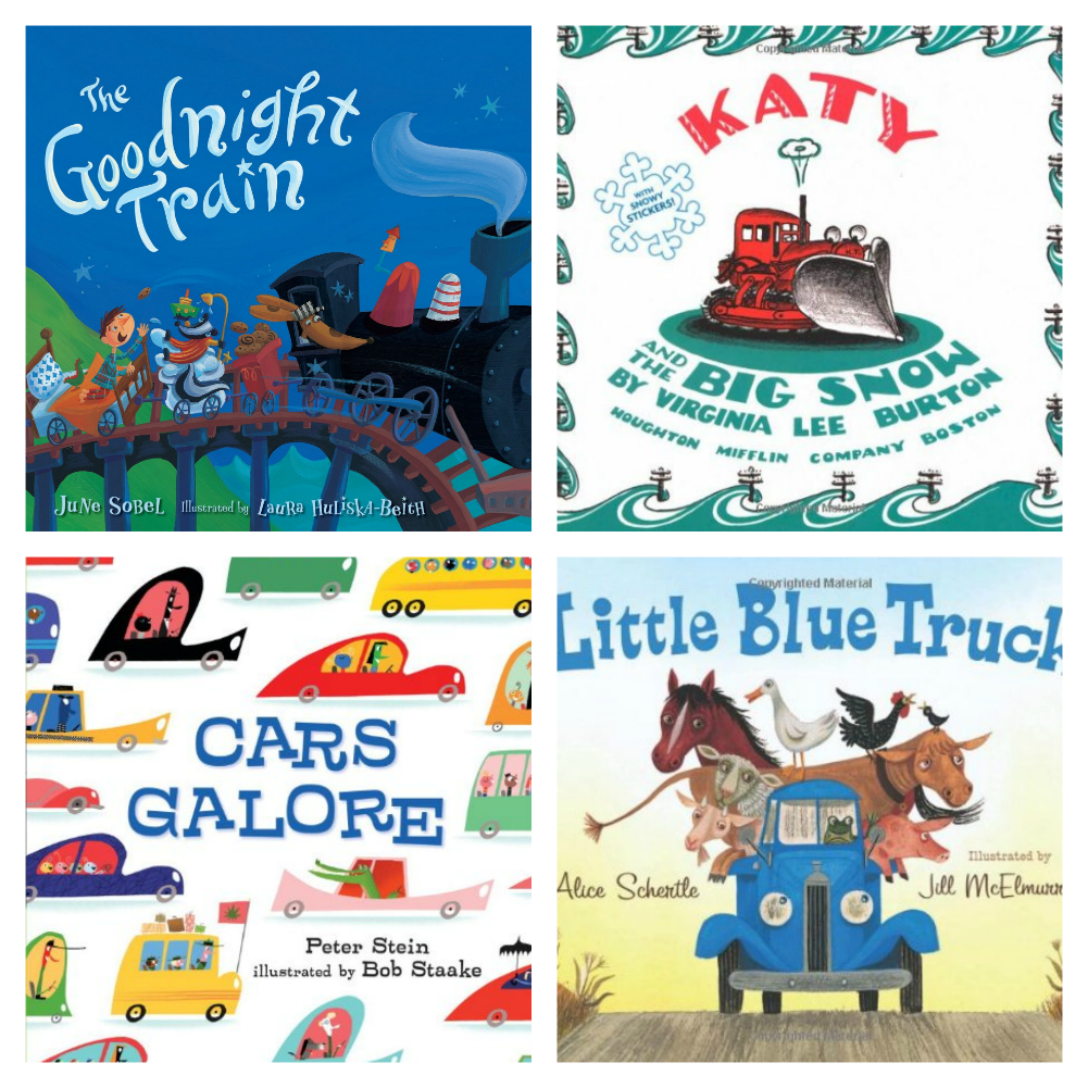 Transportation Picture Book collage, weekly home preschool transportation theme