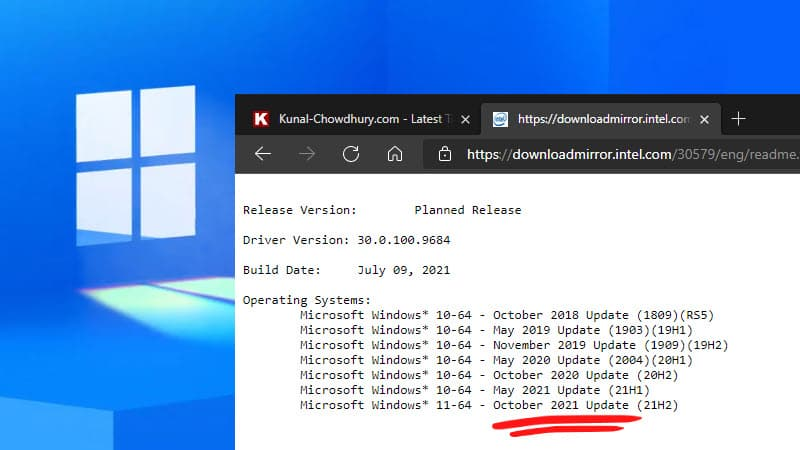 Windows 11 will release in October - hint comes from Intel's driver documentation