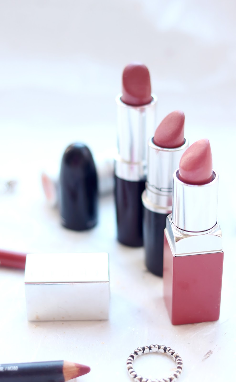 Everyday Nude - Pink Lipsticks, Rimmel Lipstick in Asia, Clinique Pop and Prime Lipstick in Sugar Pop and MAC Lipstick in Brave