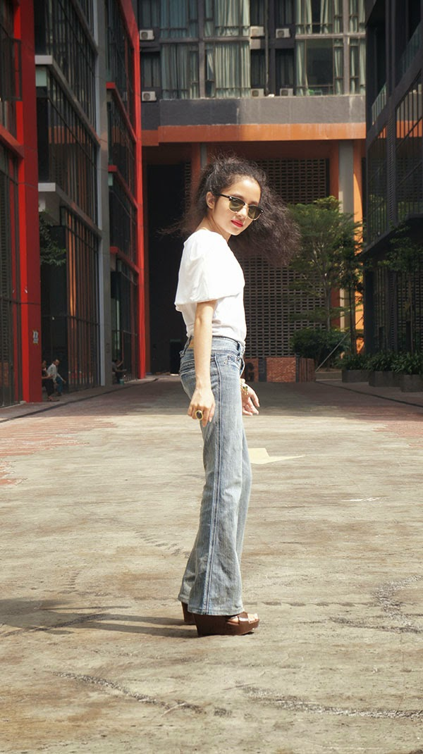 Oldie But Goodie, SEA Citizen White Cape Sleeveless Top, Flare Jeans, Hush Puppies Sling Bag, 80s style, 90s style