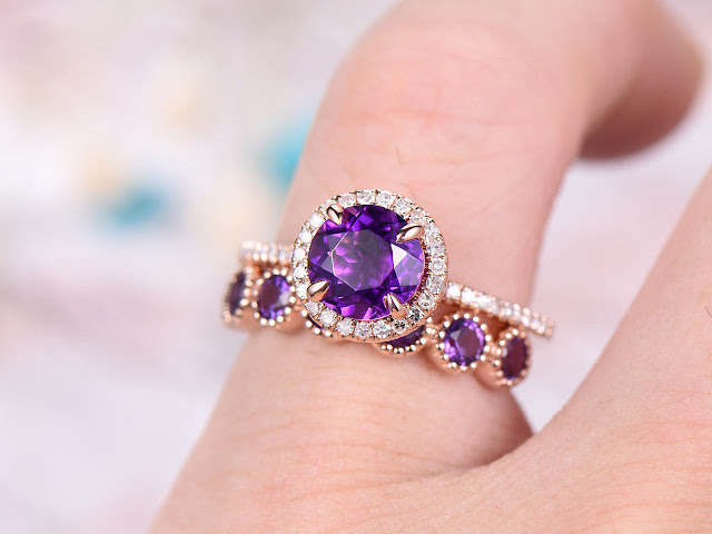 https://www.bbbgem.com/7mm-round-cut-amethyst-engagement-ring-set-bezel-set-diamond-wedding-band-14k-rose-gold-anniversary-ring-promise-ring-milgrain-gift-for-her/