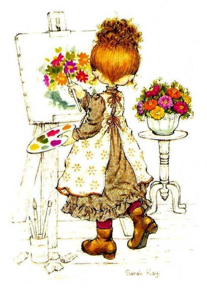 Desenho de Sarah Kay - Pintando Flores