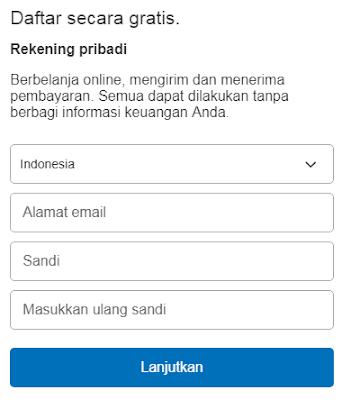 Formulir Pendaftaran Paypal