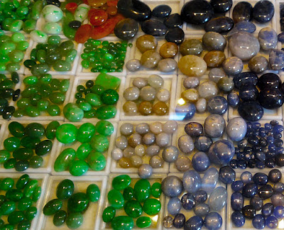 Burmese jadeite and other semi precious stones such as sapphires