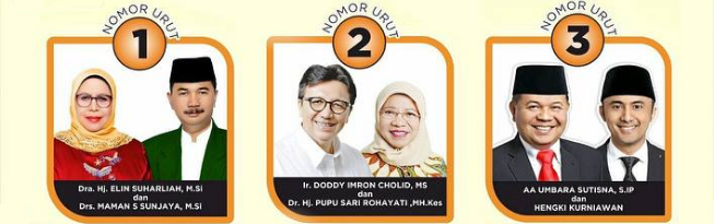Tiga pasang calon Bupati dan wakil Bupati Kabupaten Bandung Barat 2018