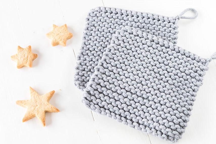 Topflappen aus Kordel stricken