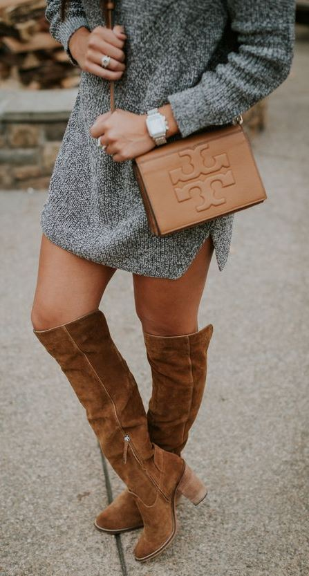 simple fall outfit idea : sweater dress + brown over the knee boots + bag