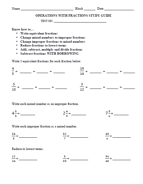 study guide on mole fraction Fractions study guide step 3: figure out what you multiplied the original denominator by to get the new denominator then multiply the numerator by the same number (hint: count your multiples) 1 ×3 4 ×3.