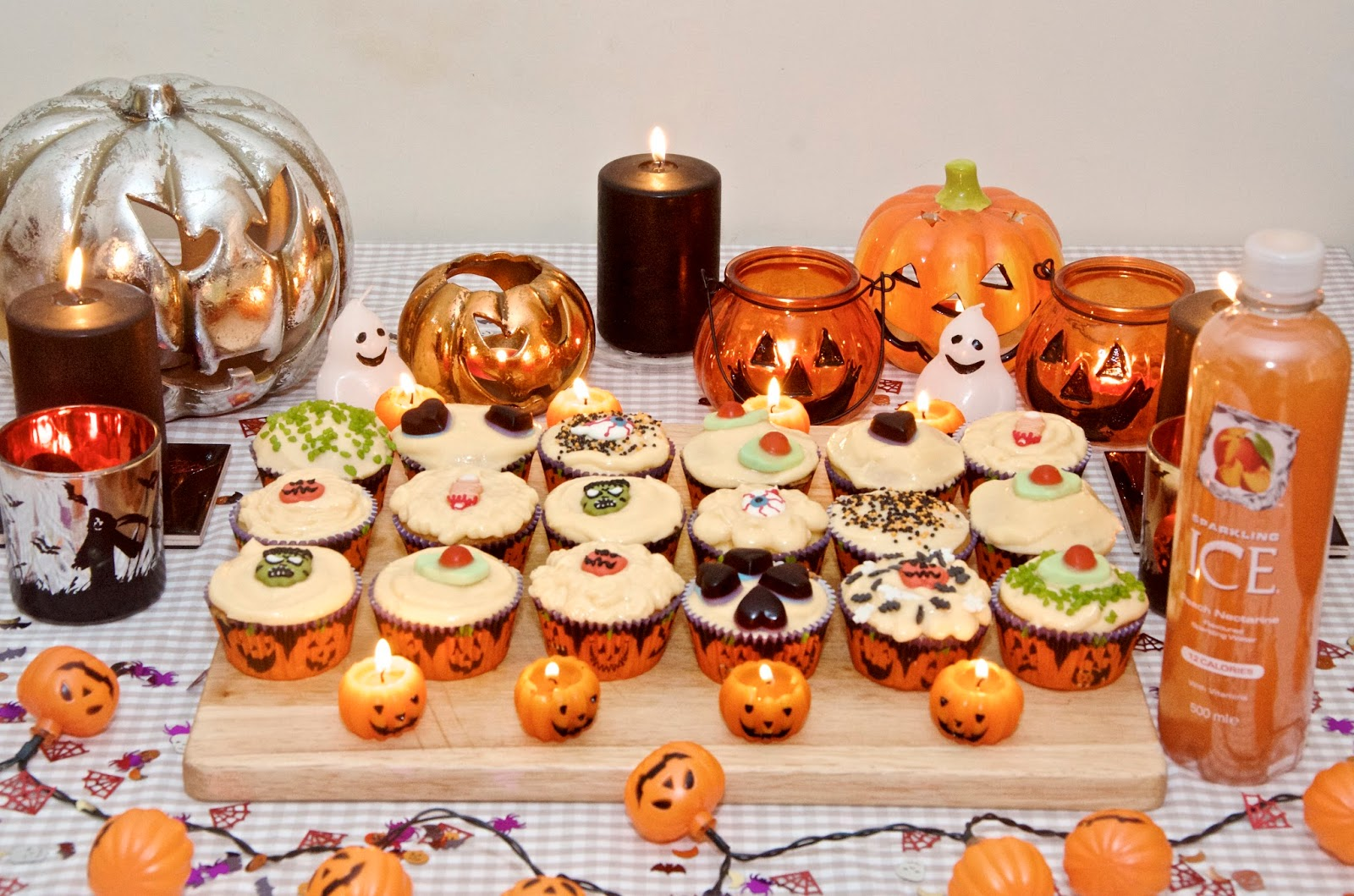 Pumpkins, candles, cupcakes, halloween decorations and Sparkling ICE Peach Nectarine