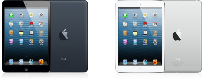 apple ipad mini with white and black colors