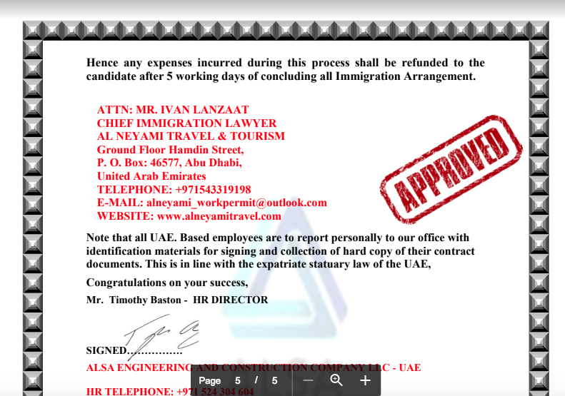 beware  is alsa engineering job offer in abu dhabi a scam