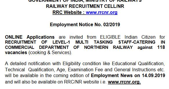 Northern Railway Recruitment 2019 MTS, Khalasi, Catering