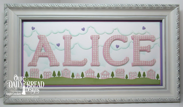 ODBD Custom Dies: Neighborhood Border, Cloud Borders, Clouds and Raindrops, Large Letters; ODBD Shabby Rose Paper Collection, Frame Designer Angie Crockett