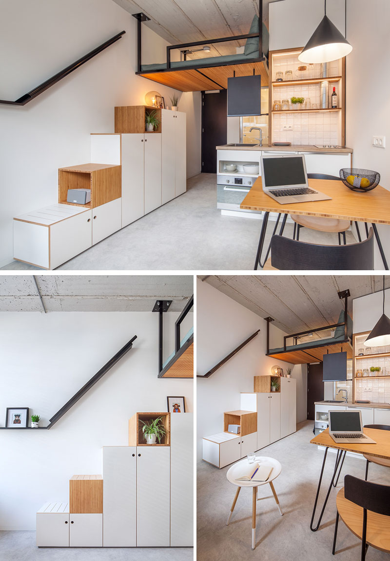 small-apartment-design-stairs-storage-loft-bed-110518-1146-06 This Contemporary Small Renovation Apartment Has A Loft Bed Suspended From The Ceiling Interior