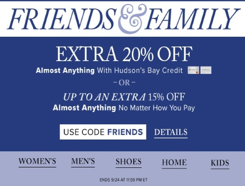 Hudson's Bay Friends & Family Event Up To 20% Off