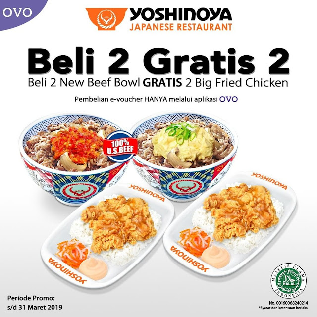 #Yoshinoya - #Promo Beli 2 New Beef Bowl Gratis 2 Big Fried Chicken (s.d 31 Mar 2019)