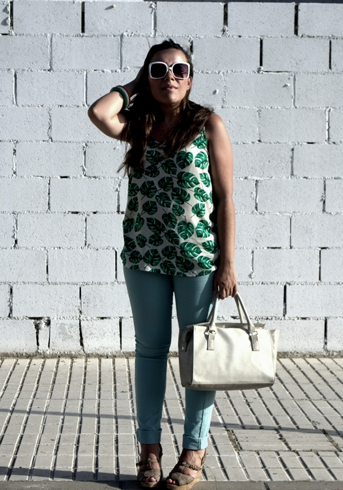 palm print top vero moda