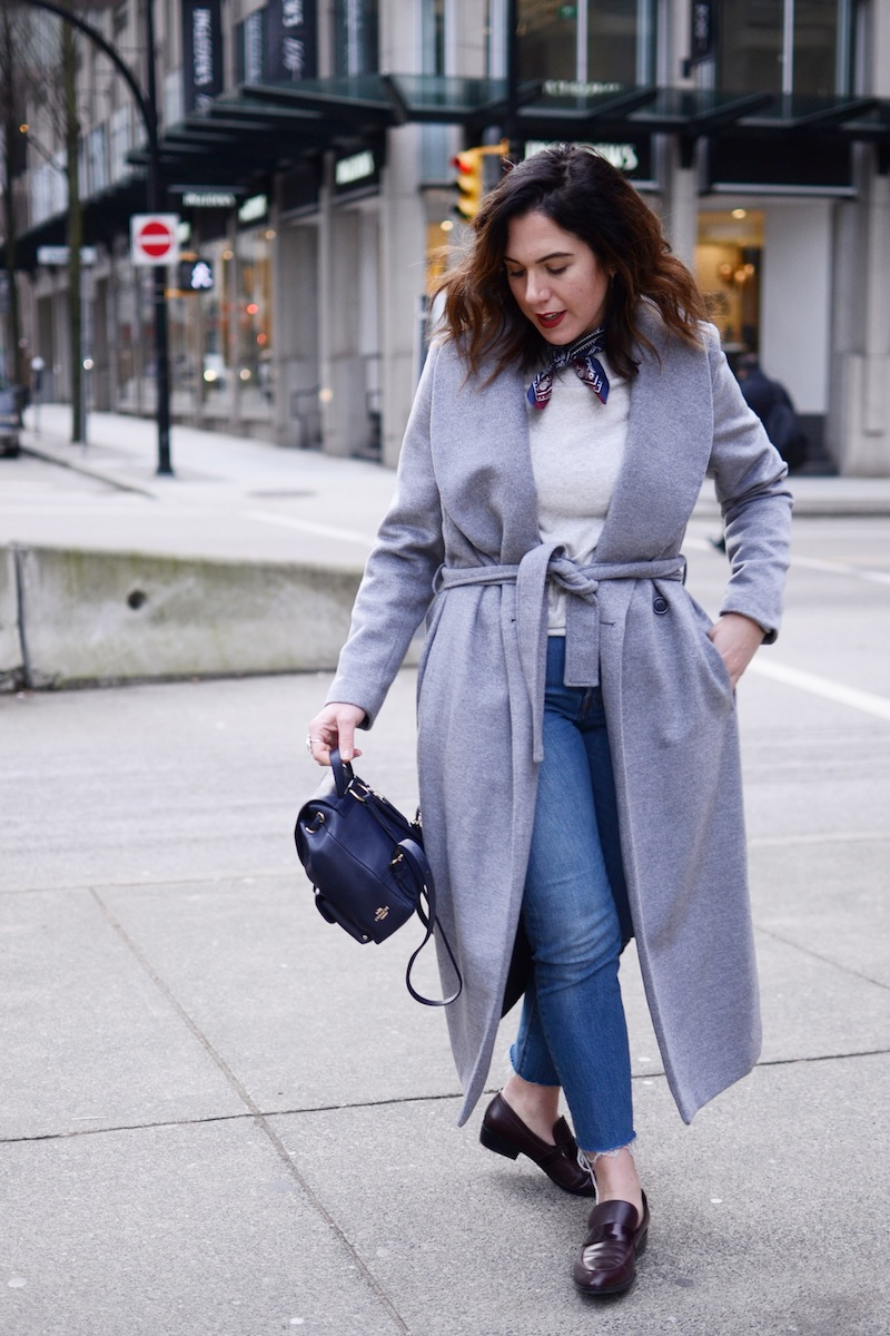 Le Chateau robe coat Coach mini backpack Geox loafer Le Chateau robe coat cute winter outfit hermes silk bandana vancouver fashion blogger levi's wedgie jeans