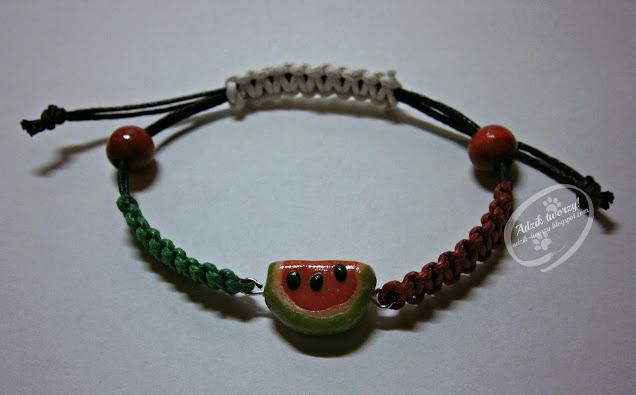 bransoletka diy ze sznurków z arbuzem - Adzik tworzy