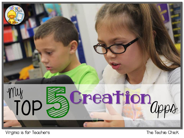These easy to use creation apps are my Top 5 for creating with the iPad or tablet.  Get ideas here on how to use them in your class.