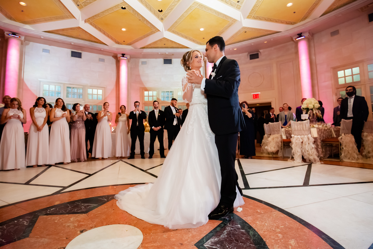 Couple enjoying lovely first dance together