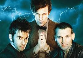 David Tennant, Matt Smith and Christopher Eccleston - photo from doctorwhotv.co.uk