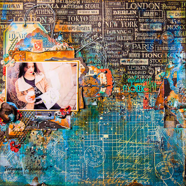 Travel Stories Kit mixed media layout by Tanya SonataJoy