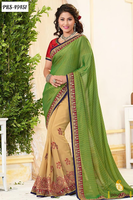 Wedding season special green georgette designer saree online shopping with discount offer at pavitraa.in