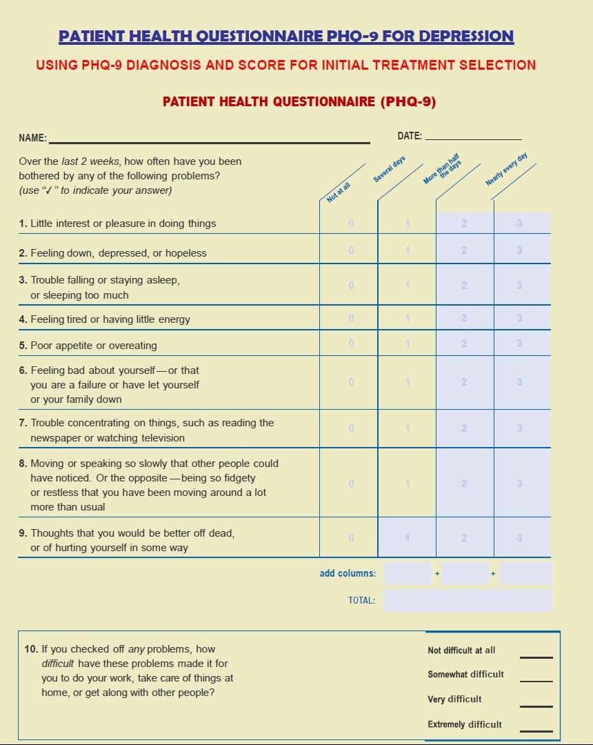 health questionnaire form template - patient health questionnaire phq for depression