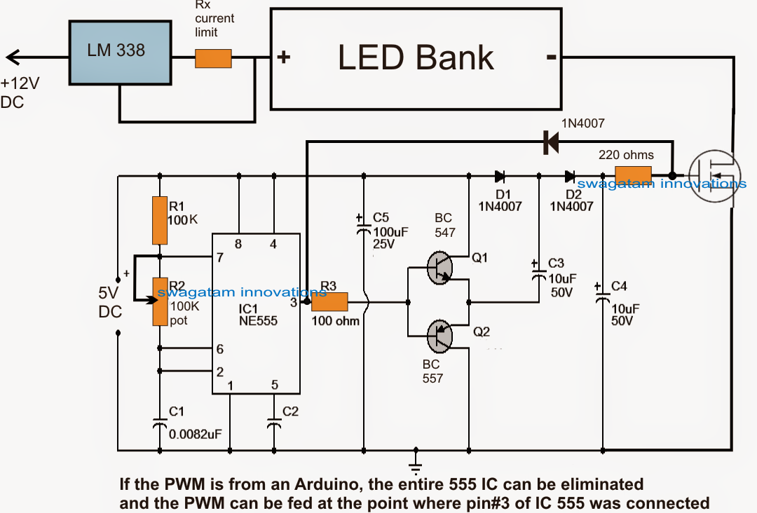 Schematic Of Arduino Pwm Led Controller Circuit