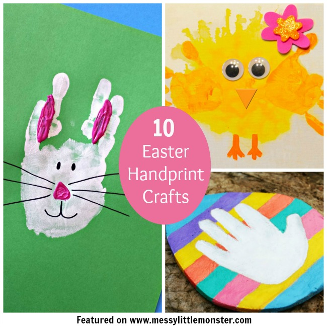 10 Easter handprint, footprint and fingerprint craft ideas for kids.  A collection of 10 bunny, chick, egg and cross Easter keepsake ideas thats are perfect for toddlers and preschoolers.