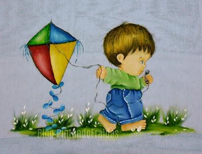 pintura em tecido  menino com pipa