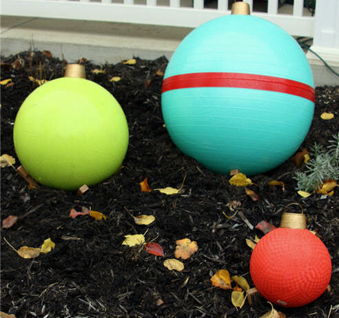 i also dug a little crater in the mulch and used garden stakes and bricks twine to anchor my outdoor christmas - Outdoor Christmas Balls