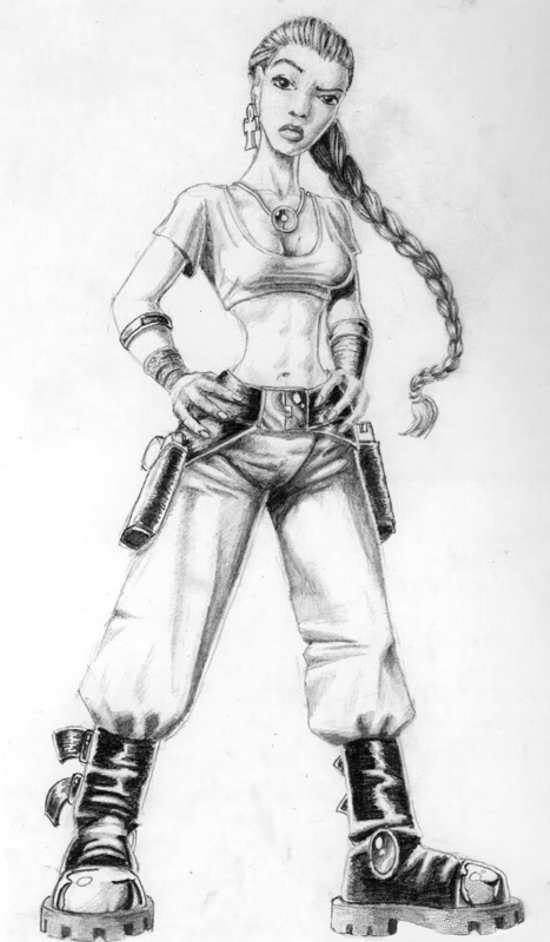 Lara Croft 1995 sketch by Toby Gard