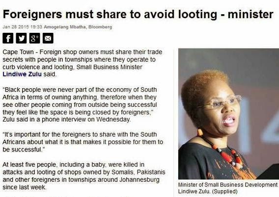South African Minister Of Small Business Development Says