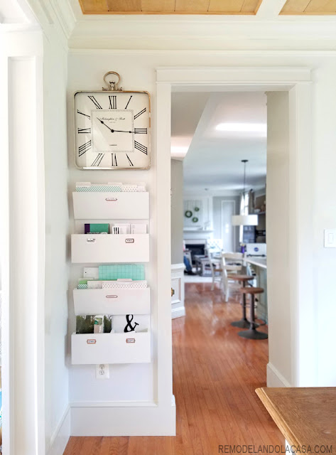 get organized with command center and big square clock on wall