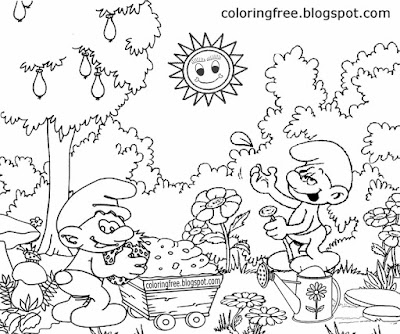 Facebook Smurfs characters Papa Smurf village house fun coloring sheets for kids easy drawing ideas