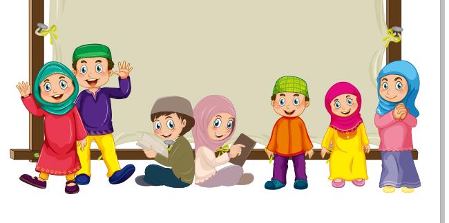 Download Kartun Anak Muslim Ceria CDR - Lembar Vector