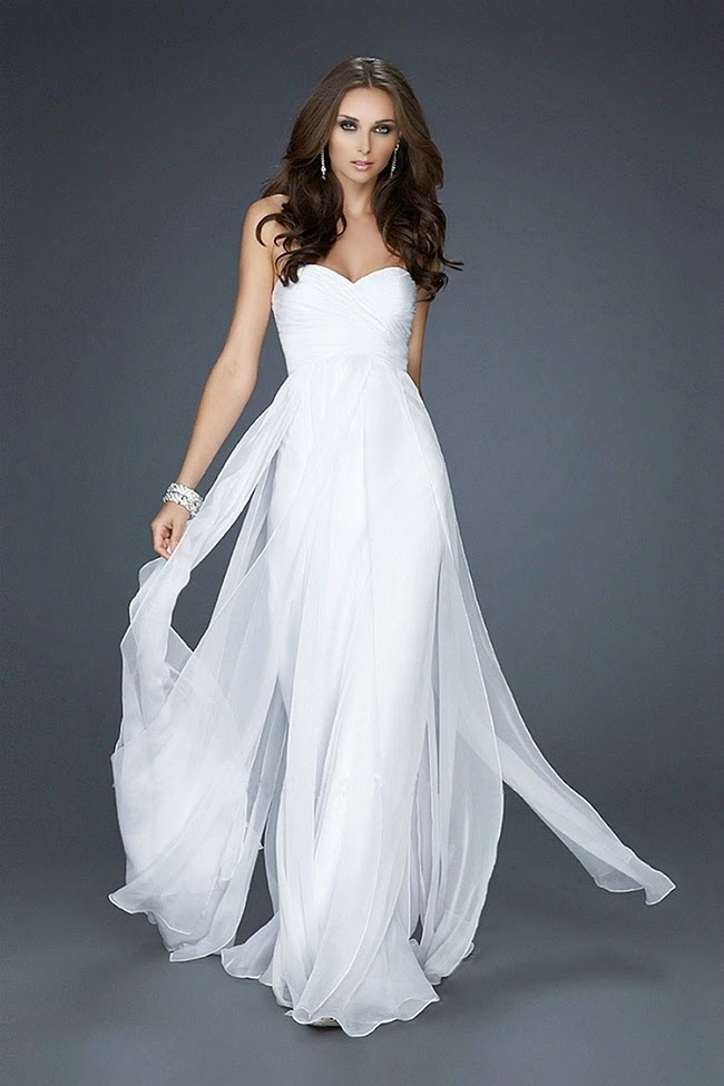 wedding fashion: Elegant charming white formal dresses for