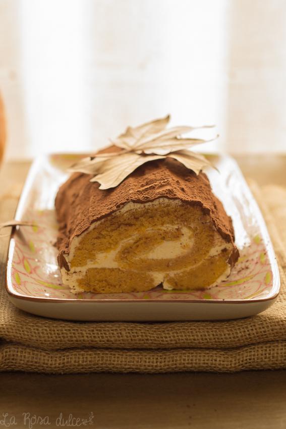 Rollo de calabaza, mascarpone y chocolate #sinlactosa